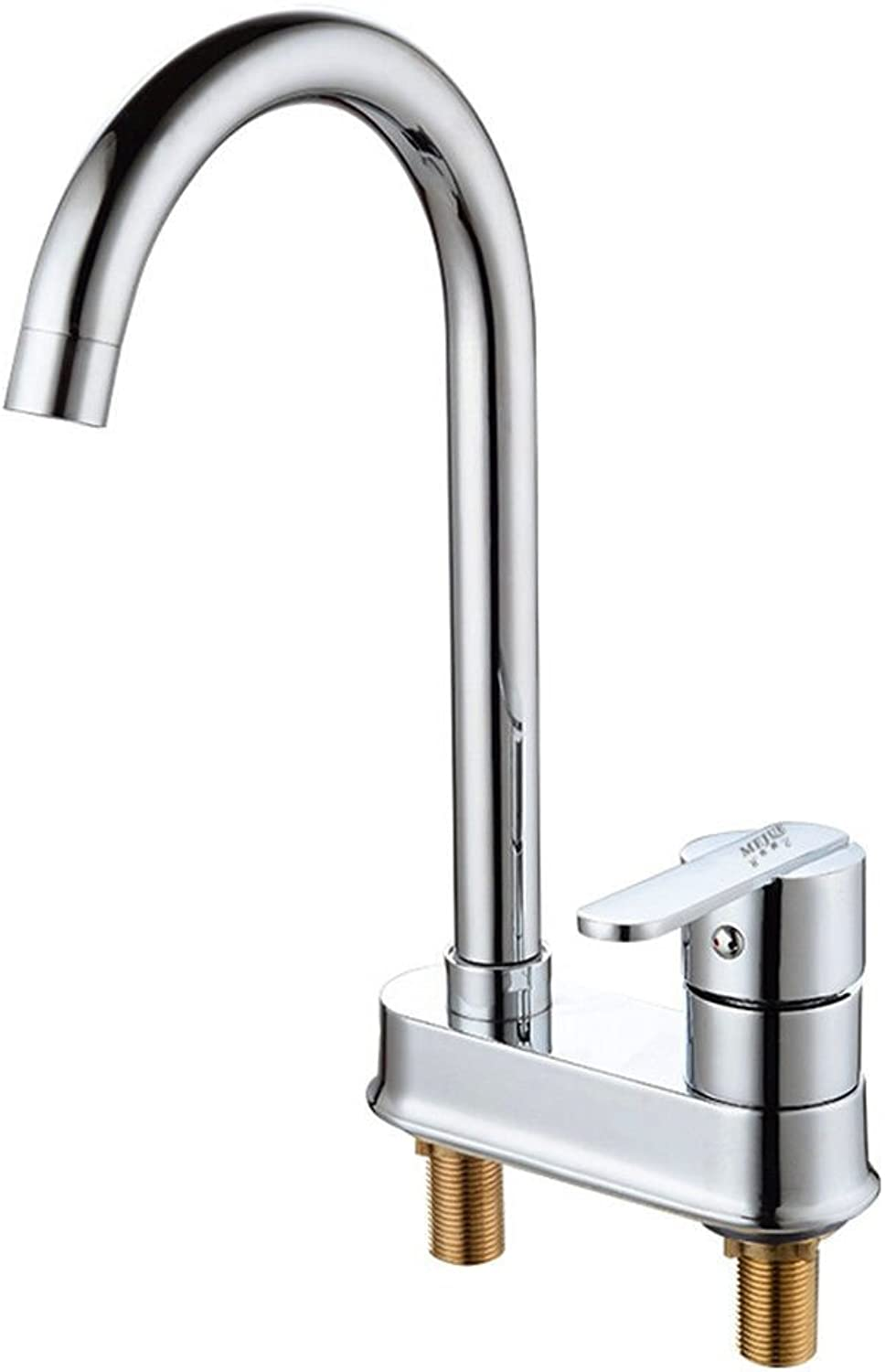 SADASD Modern Bathroom Basin Faucet Copper Double Hole 360° redating Washbasin Sink Taps Ceramic Valve Hot and Cold Mixer Tap With G1 2 Hose