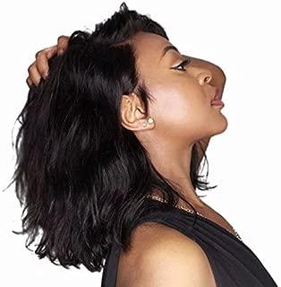 ten chopsticks Short Bob Lace Front Wigs Human Hair Natural Wave Brazilian Virgin Hair Natural Black Pre Plucked Bleached Knots For Women