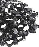 NUPICK 20 Pound Fire Glass, 1/2 Inch Reflective Fire Glass, Fit with Fire Pit Glass and Fireplace Glass, Black