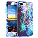 GUAGUA Compatible for iPhone 8 Plus/7 Plus Case Mandala Flowers Floral Space Nebula Hybrid 3 in 1 Hard PC TPU Bumper Cover Shockproof Protective Phone Cases for iPhone 8 Plus/7 Plus Purple