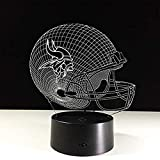 Boutiquespace Luz de noche 3D luz de noche de gorra de fútbol gorra de fútbol 3D lámpara de escritorio de mesa de luz nocturna 7 colores luces de ilusión óptica 3D luz de noche (A)-C