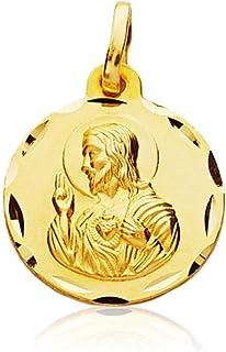 M/édaille pendentif Argent Scapulaire Loi sur 925m 15mm Virgen del Carmen Coeur de J/ésus unisexe