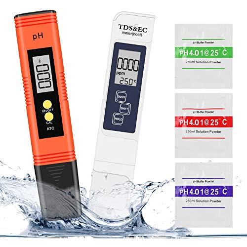 Misuratore Ph, Winzwon PH Tester Qualità Acqua 4 in 1 PH TDS&EC Temperatura Tester con Compensazione Automatica e della Temperatura e Schermo LCD, per Piscina, Acquario