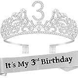 3rd Birthday Gifts for Girls,3rd Birthday Decorations for Girls,3rd Birthday Party Supplies,3rd Birthday Tiara,3 Years Old Birthday Crown,3 Year Old Birthday Sash,3rd Birthday Tiaras for Girl