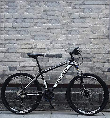 AISHFP Morbida Coda Folding Mountain Bike, Doppio Freno a Disco in Acciaio/High-Carbonio Telaio Bici, off-Road Beach motoslitta Biciclette, 26 Pollici Ruote,Nero,21 Speed