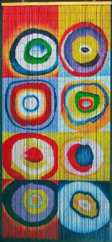 ABeadedCurtain 125 String Squares & Rings Kandinsky Beaded Curtain 38% More Strands Handmade with 4000 Beads (+Hanging Hardware)