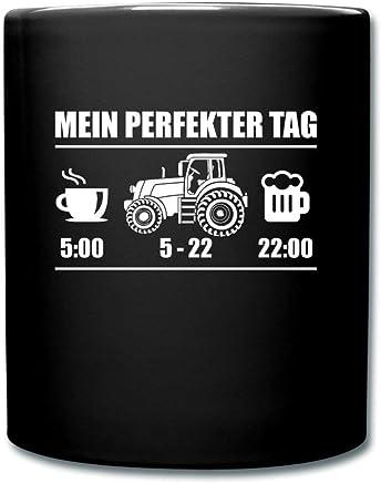 Preisvergleich für Spreadshirt Landwirtschaft Perfekter Tag Kaffee Traktor Bier Tasse einfarbig, Schwarz