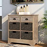 Storage Chest with 2 Drawers and 4 Baskets, Wood Storage Cabinet/Entryway Cabinet/Side Table for Living Room, Dining Room (White Wash)