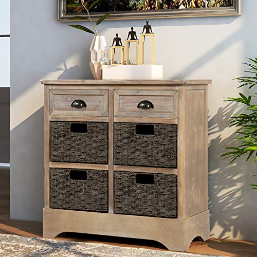 Rustic Storage Cabinet with Two Drawers and Four Classic Fabric Basket for Home Kitchen Entryway Living Room Grey Washed