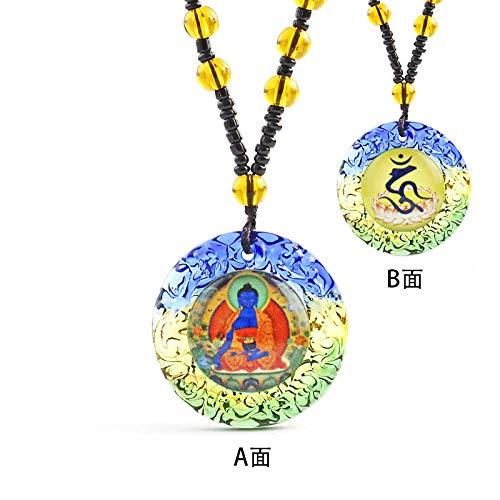 Halskette Bunter Glasanhänger Kristallanhänger Männer und Frauen Pullover Lange Halskette Schmuck Großhandel-Apotheker Buddha