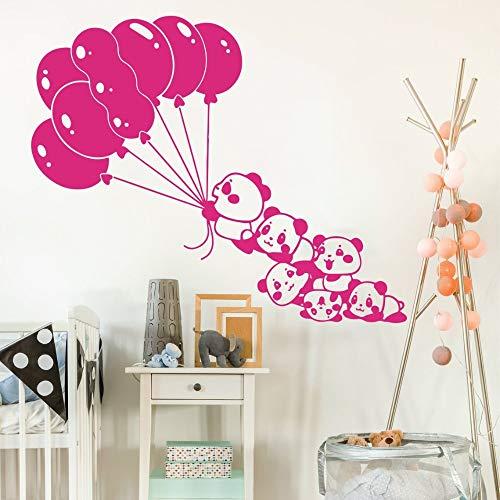 YuanMinglu Niedlichen Panda Cartoon Ballon Panda Tier Bambus Wandaufkleber Vinyl Schlafzimmer Wandtattoo Schlafzimmer Poster Wasserdicht Wandbild 42x34 cm