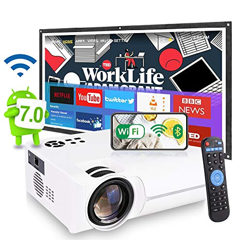 [2021 Android 7.0 OS WiFi Smart 4K LED Movie Projector Pro]8500 Lumens, 8000:1 Contrast, 5W Speaker, Home Entertainment Compatible with HDMI, WAN,Smart Phone, Laptop, PS4, DVD, Bluetooth,TV Box&Stick