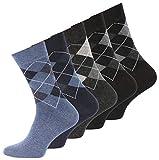10 Paar Herren Baumwoll Socken mit Karos, ohne Gummib& Gr. 39-42