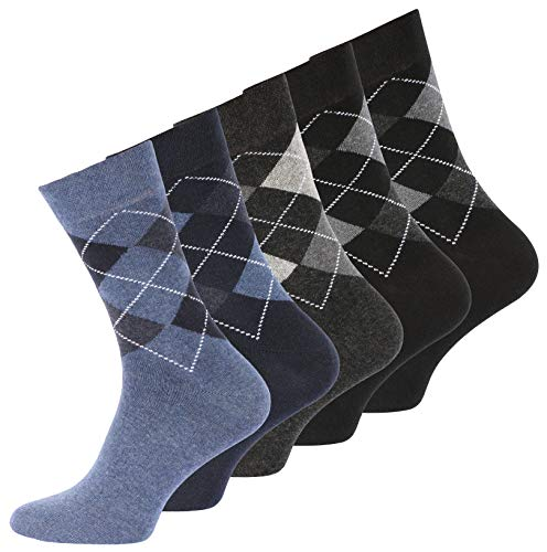 10 Paar Herren Baumwoll Socken mit Karos, ohne Gummibund Gr. 39-42
