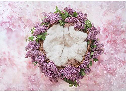 telón de Fondo Recién Nacido 7x5 Fondo de bebé Manta para fotografía Nido de Lila púrpura Fondo de Foto Brillo de poliéster Fondo Floral Rosa para Fotos de bebé Telones de Fondo Profesionales