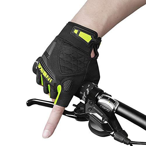 INBIKE Guantes Bicicleta Verano Hombre Mujer Guantes Ciclismo Elásticos Transpirables Guantes MTB con Protector De TPR para Nudillos(Amarillo/Verde-M)