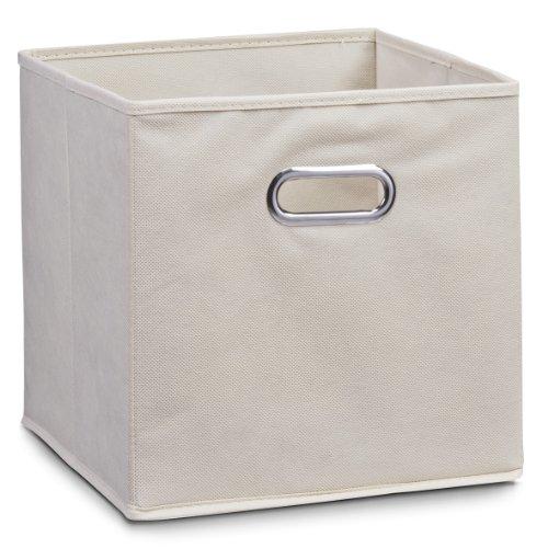 Zeller 14131 - Caja de almacenaje de tela, plegable, 28 x 28 x 28 cm, color beige