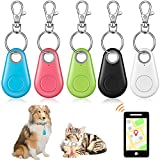 5 Pieces Key Finder Item Locator with 5 Pieces GPS Keychains Bluetooth Tracker Anti-Lost Tag Alarm Reminder Selfie Shutter Control for Kids Pets Keychain for Smartphone