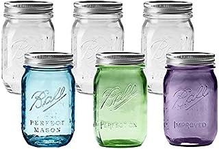 BALL 【ボール】Mason Jar メイソンジャー 16oz レギュラーマウス 100周年限定カラー3本入り ガラス保存瓶 6本セット