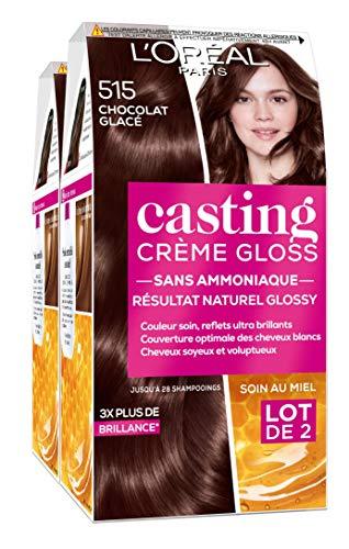 L'Oréal Paris Casting Crème Gloss Coloration Ton sur Ton pour Cheveux - Sans Ammoniaque - Chocolat Glacé (515) - Lot de 2