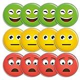 12 Smiley Magnete, Ø 38mm, 3 Farben: grün, gelb, rot – hält 5 DIN A4 Zettel, Ideal für Tafeln, Whiteboards, Belohnungstafeln, zum Projektmanagment