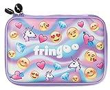 Fringoo® Astuccio rigido per bambine, ragazzi e bambini, con copertina in rilievo, grande scomparto per cancelleria (Emoji World Holo – Hardtop)
