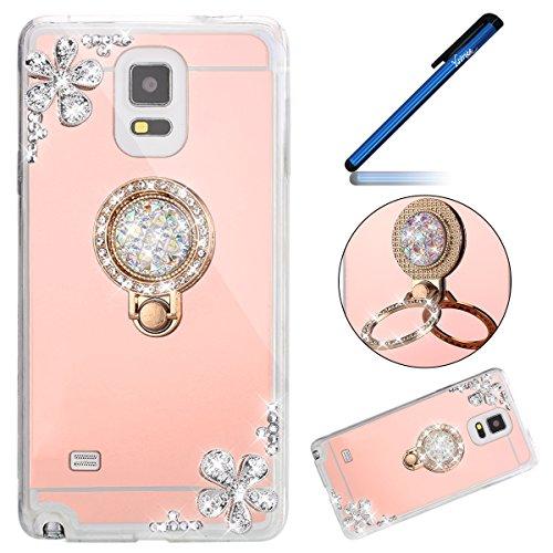 Ysimee Coque Galaxy Note 4, Miroir Silicone Étui Strass Glitter Fleur Brillante Housse de Protection avec Anneau Support Luxe Couleur Plaquée Ultra Mi
