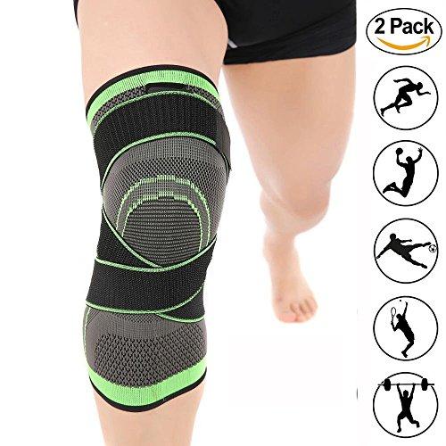 LOKEP, ginocchiera a compressione, confortevole e traspirante, tessuto lavorato a maglia 3D, cinghie di compressione regolabili, 1ginocchiera per uomini e donne, per allenamento, corsa, escursioni, sollevamento, basket, colore verde