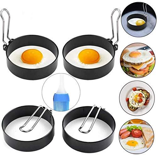 YAOYIN Spiegelei Ringe Ei Ring für Bratpfanne, 4 Stück 7cm Spiegeleiform Edelstahl Pancake Form zum Kochen von Spiegelei/Pfannkuchen/Omeletts und mehr, Antihaftbeschichtung (Ölflaschenbürste Enthält)