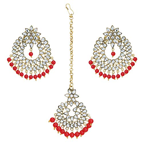 Jwellmart Indian Ethnic Partywear Traditional Gold Plated Lightweight Chandbali Kundan Earrings Tikka Set for Women and Girls (Red)