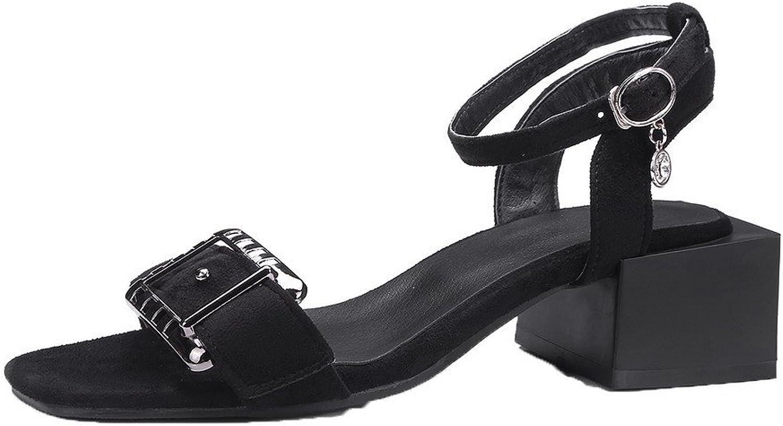 AllhqFashion Women's Buckle Open-Toe Kitten-Heels Frosted Solid Sandals, FBULD013481