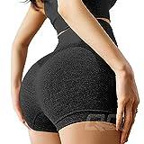 Women's Seamless Yoga Shorts High Waist Tummy Control Push up Running Elastic Shorts Compression Hot Pants S Black