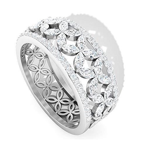 Rosec Jewels - 14 Kt Weißgold Markise Runder Brilliantschliff Leicht Getöntes Weiß/Crystal (J) Diamant