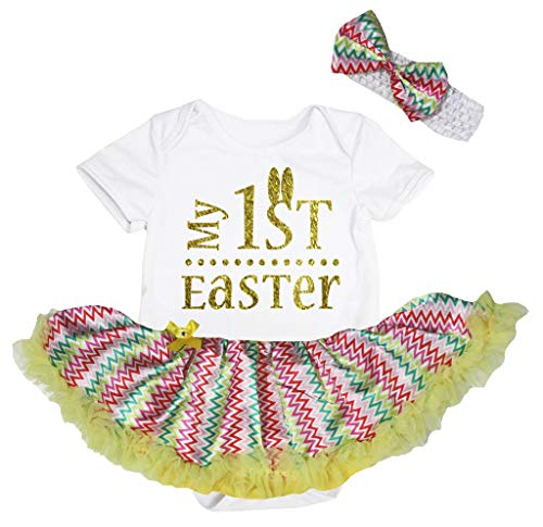 Petitebelle Gold My 1st Easter Body Blanc Chevron Tutu Robe de bébé Nb-18m - Blanc - S