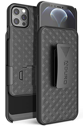 Aduro Combo Case & Holster for iPhone 12/ 12 Pro, Slim Shell & Swivel Belt Clip Holster, with Built-in Kickstand for Apple iPhone