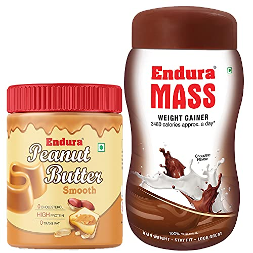 Endura Mass Weight Gainer Chocolate Flavour with 100% All Natural Peanut Butter Smooth (500g+400g)