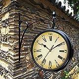 SXFYHXY Relojes De Soporte, Reloj De Doble Cara para Jardín Al Aire Libre, Silencioso Sin Tictac, Adorno Retro Vintage De Pared De La Estación Grand Central Silencioso para Interiores/Exteriores