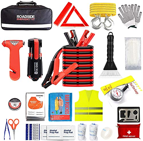 Car Emergency Kit for Auto,Roadside Assistance Bag with Jumper Cable for Truck Vehicle,Men Women Winter First Aid Kit Emergency Safety Tool Case with Snow Scraper Blanket for Jeep SUV RV (33X22X12cm)