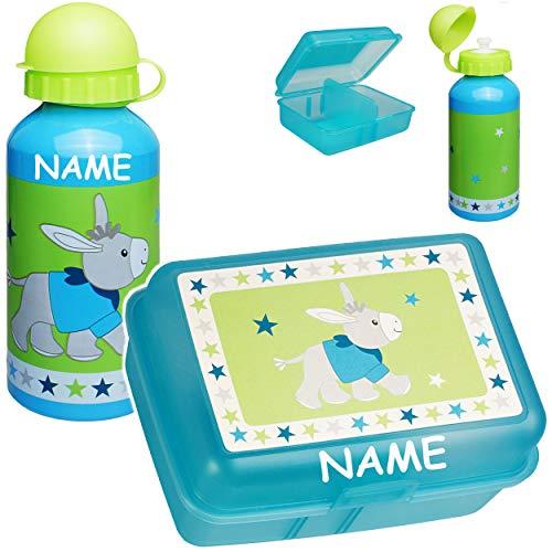 alles-meine.de GmbH 2 TLG. Set _ Lunchbox / Brotdose + Trinkflasche -  Esel - Pferd & Sterne  - inkl. Name - BPA frei - mit Trennwand / herausnehmbaren Fach - Trinklernflasche ..