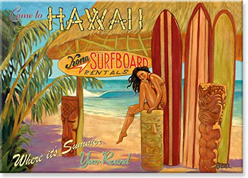 Imán frigorífico Pacifica Island Art – Kona Surfboard