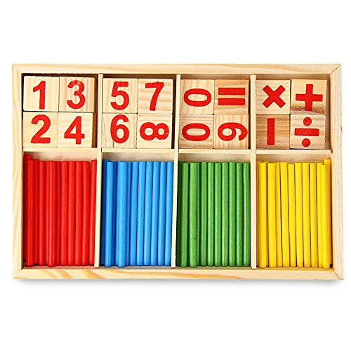 Robolife Number Cards Counting Rods ,Montessori Math Intelligence Stick Preschool Educational Toys Kids 3+