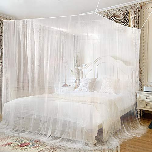 yotame Moskitonetz Bett Doppelbett Feinmaschig Faltbares Groß Mückennetz Bett für Doppelbett, Einzelbett und Kinderbett - 230 x 220 x 235 cm