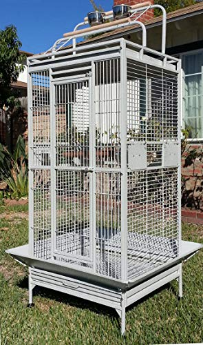 Mcage Large Wrought Iron Bird Parrot Cage Double Ladders Open/Close Play Top, Include Seed Guard and Play Top (White Vein)
