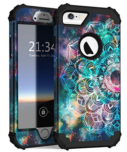Hocase iPhone 6s Case, iPhone 6 Case, Heavy Duty Shockproof Silicone Rubber Bumper+Hard Plastic Full Body Protective Case for iPhone 6s/iPhone 6 with 4.7-inch Display - Mandala in Galaxy