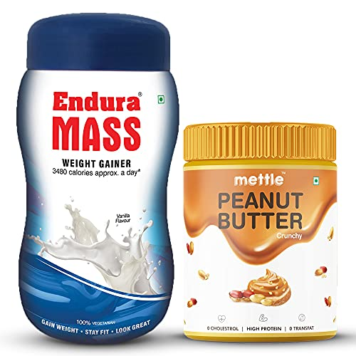 Endura Mass Weight Gainer Vanilla Flavour with Mettle All Natural Peanut Butter Crunchy (500g+400g)