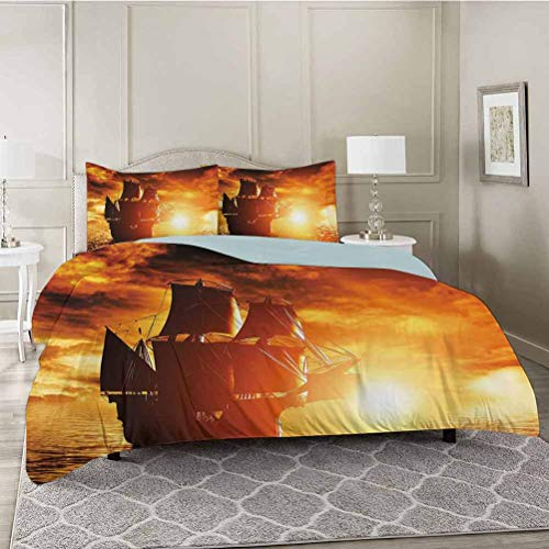 YUAZHOQI 3 Pieces Modern Style Duvet Cover Set, Ancient Pirate Ship Sailing on The Ocean at Sunset in Full Sail Print, Ultra Soft, Breathable and Hypoallergenic for All Season, Twin Size