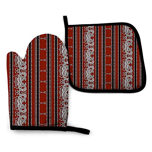 Celtic Greyhound Dogs, Burgundy and Grey Oven Gloves Heat Resistant – Silicone Quilted Non Slip Mitts for Handling Hot Surface
