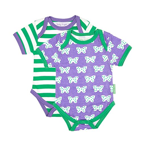 Toby Tiger Butterfly Baby Tshirt Pack - Body - Bébé fille, Violet (Purple/Green/White), 6 mois