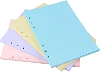 STOBOK Colored Loose Leaf Paper 6 Hole Filler Paper for Binder Notebook A5 Index Classified Lables Dividers Paper,40 Sheet...