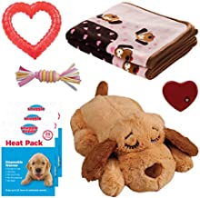 SmartPetLove Snuggle Puppy Heartbeat Stuffed Toy - Pet Anxiety Relief and Calming Aid - Biscuit - New Puppy Starter Kit (Pink)